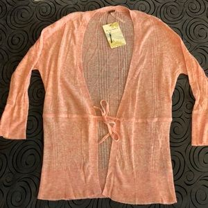 NWT Free People coral cardigan sweater size med